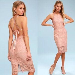 NWT Lulu's Wishful Wandering Pink Blush Lace Dress